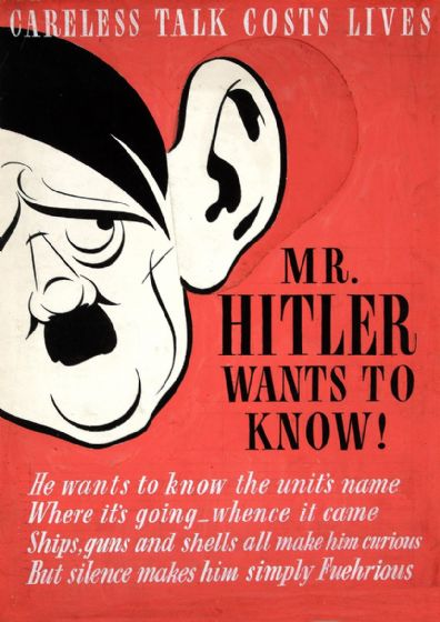 Careless Talk Costs Lives. Mr Hitler Wants to Know! Wartime Print/Poster. Sizes: A4/A3/A2/A1 (00918)